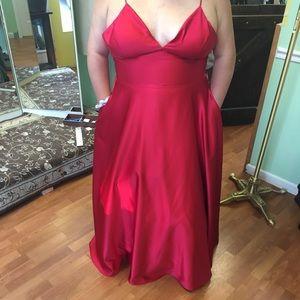 Red David's Bridal Prom Dress